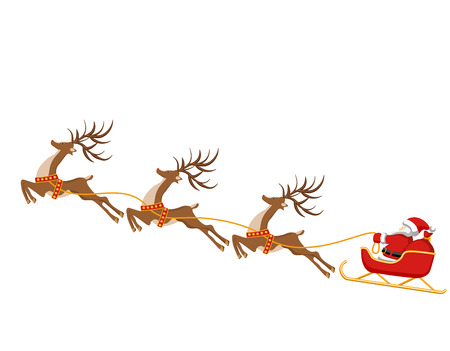New Year, Christmas. Drawing of deer and sleigh of Santa Claus. In color. illustration
