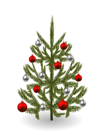 Symbol Of The New Year, Christmas. An Image Of A Beautiful Green Spruce  Decorated