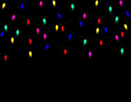 Christmas, Christmas multicolored lights isolated realistic design elements. Glowing lights for greeting cards. Garlands on a black background. illustration