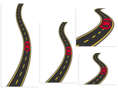 A set of roads with cars from different angles. Road, high-speed highway car. Material design. Vector illustration