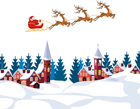 New Year, Christmas. An image of Santa Claus and deer. Winter landscape before the New Year. Snow, trees, houses. illustration Çizim
