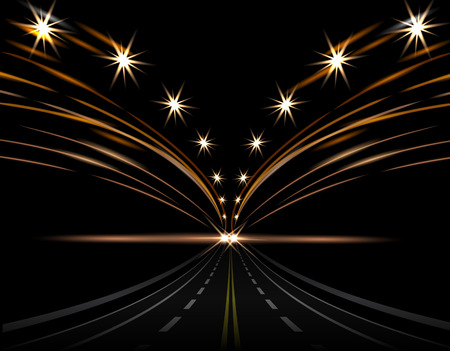 Abstract light effects. Car lights. Road to perspective, street, highway, expressway. Lanterns on both sides. illustration Illustration
