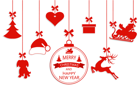 New Year Christmas. Various hanging ornaments, Santa hat, reindeer, heart, gift, dog and Christmas tree isolated on white. Illustration