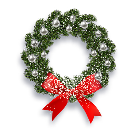 Christmas, New Year. Green spruce branch. Christmas wreath with shadow and snow. Red onions, silver balls on a white background.
