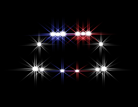 Abstract light effects. Police car at night with lights in front.