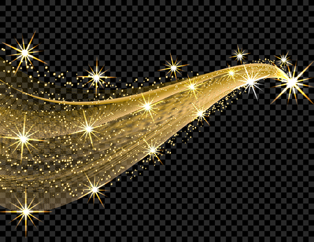 Abstract golden wave design element with shine effect on a dark background. Stars, luminous points. illustration