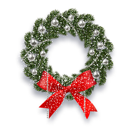 Christmas, New Year. Green spruce branch. Christmas wreath with shadow and snowflakes. Red onions, silver balls and beads on a white background. illustration Illustration