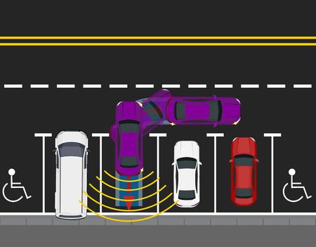 Colored parked cars parked by the road, top view. Scheme of parking a car with autonomous movement. Autopilot. illustration