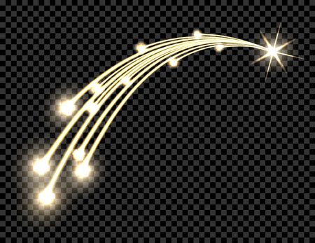 Abstract golden wave design element with shine and light effect on a dark background. Comet, the star. Transparent background. illustration