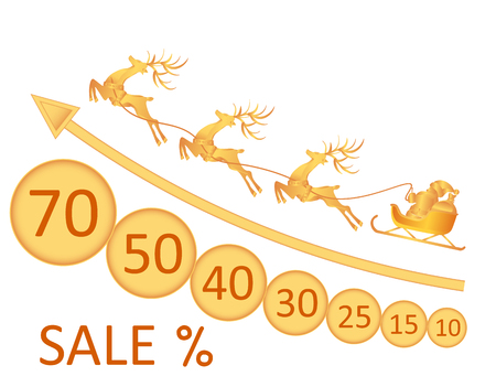 desing: Sale. Christmas, New Year. Image of Santa Claus, deer, coins, discounts. illustration Illustration