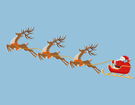 New Year Christmas. Picture of a deer, sleigh and Santa Claus. In color. Cut from white paper with a shadow. illustration