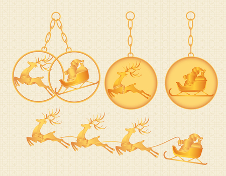 Christmas, New Year. Gold keychains, charms, pendants with the image of Santa Claus and deer. illustration