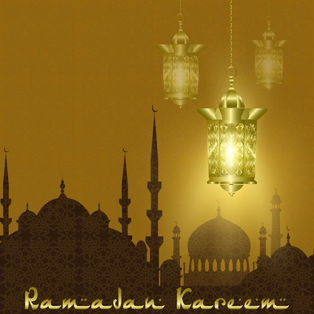 Ramadan Kareem. Stylized drawing of the silhouette of the eastern city. Lanterns are stylized for copper, bronze on a background of an ornament. illustration