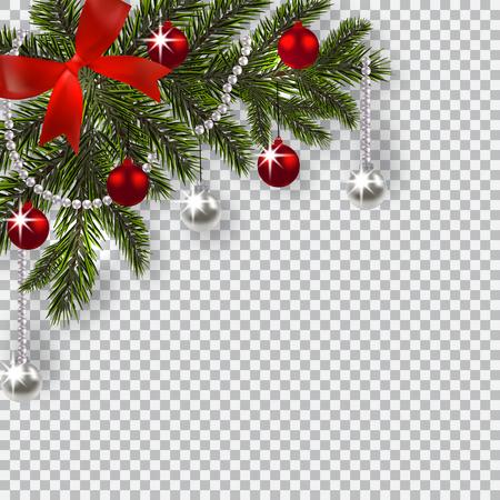 새 해 크리스마스입니다. 그림자와 장난감 크리스마스 트리의 녹색 지점. 코너 그리기. 블루 양파, 실버 및 빨간색 공을 체크 무늬 배경에. 삽화