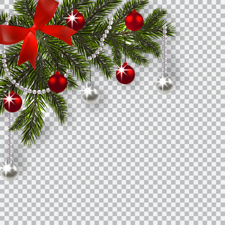 New Year Christmas. A green branch of a Christmas tree with toys with a shadow. Corner drawing. Blue onions, silver and red balls on a checkered background. illustration