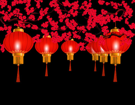Chinese New Year. In the park hung red Chinese lanterns. Round form. Against the background of a blooming red cherry. illustration
