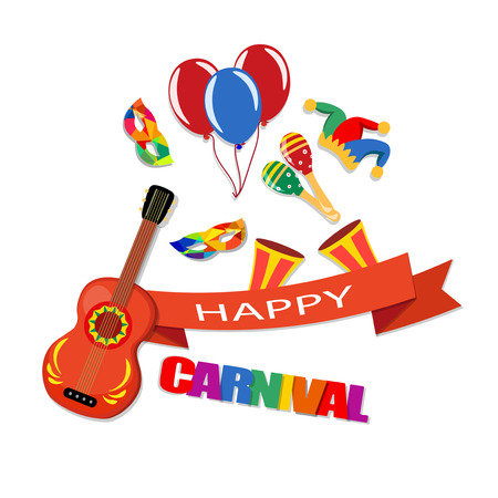 Happy Carnival. A tape with an inscription, a guitar, a cap, masks, balloons, maracas, drums Vector illustration Stock Illustratie