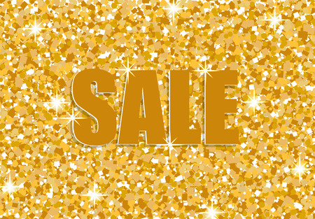 Sale template for banners, websites, advertising, leaflets, brochures. Magazines for golden shine, sequins, bright texture background.