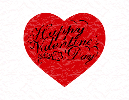Valentine s Day. Red heart with a congratulatory inscription. Vector illustration 일러스트