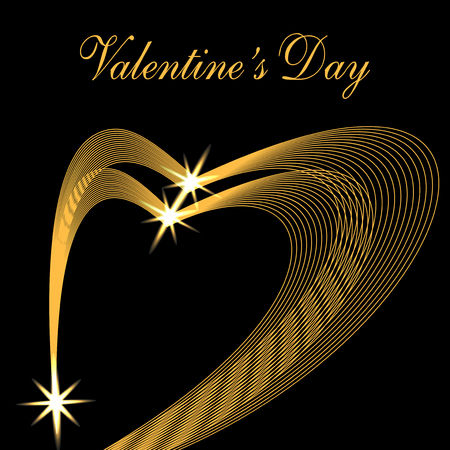 Valentine s Day. Congratulatory inscription. Two golden waves in the form of hearts on a black background. Stars. Vector illustration