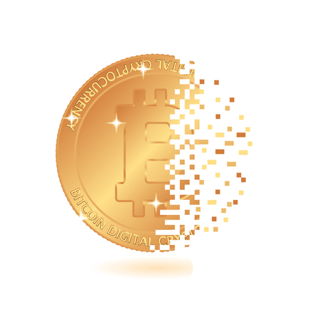 Bitcoin mining. world-famous digital currency. Symbolic construction of a coin. illustration 스톡 콘텐츠