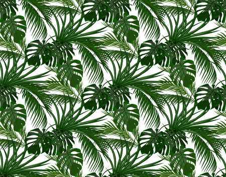 Jungle. Green leaves of tropical palm trees, monstera, agave. Seamless. Isolated on white background. illustration