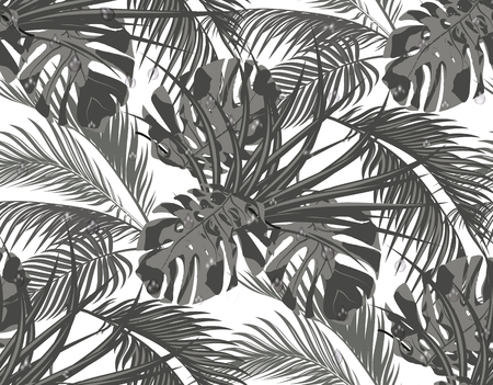 Jungle. Black-and-white leaves of tropical palm trees, monsters, agaves. Seamless. Isolated on white background. Vector illustration