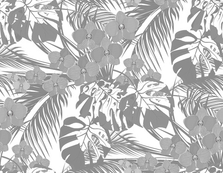 Jungle. Black and white leaves of tropical palm trees, monstera, agaves and orchids. Drops of dew, rain. Seamless. Isolated on white background. Vector illustration