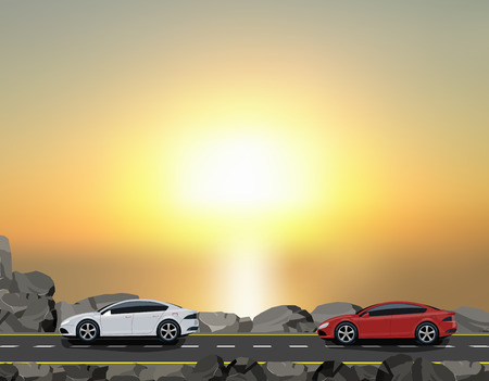 Road, highway along a dam against a beautiful sunset. Travelling by car. Vector illustration