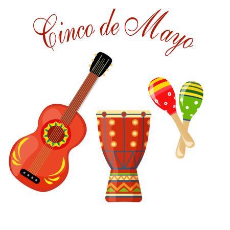 Cinco de Mayo. maracas green and red, drum, guitar. Congratulatory inscription. Vector illustration