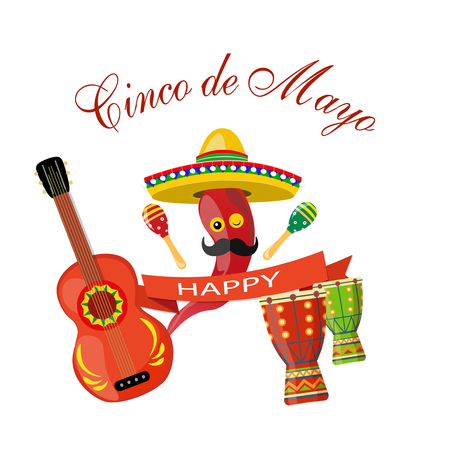 Cinco de Mayo. maracas green and red, drum, guitar, red pepper with mustaches, ribbon. Congratulatory inscription. illustration