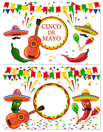 Cinco de Mayo. Two flyers, postcards. Maracas green and red, drum, guitar, red and green pepper with a mustache. Congratulatory inscription. illustration Stock Photo