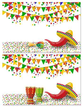 Cinco de Mayo. Two flyers, postcards. Maracas, drum green and red, flags, red pepper on vacation. illustration Stock Photo