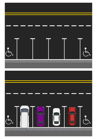 Two pictures. Colored parked cars, road, top view. free places, places for disabled people. illustration Stock Photo