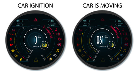 Digital automotive dashboard of a modern car. Graphic display when the ignition is switched on and when the vehicle is moving. Illustratio Banco de Imagens