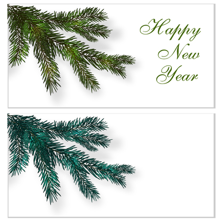 Christmas, New Year. Postcards, business cards, invitations. Congratulatory inscription. Realistic branches of the Christmas tree are green and blue and its shadow. illustration