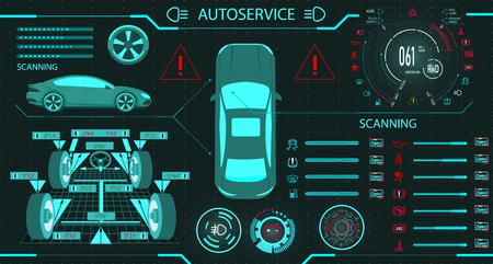 Car service. Diagnostic stand wheel alignment. Car digital car dashboard. Graphic display. illustration