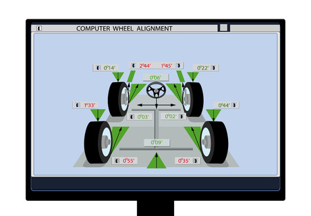 Car service. An image of a car schematic with sensors on wheels on a computer monitor. Wheel alignment. illustration Illustration