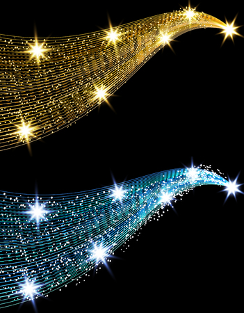Two golden waves with a shine effect against a black background. Comet with a luminous tail and stars. Gold and blue. illustration