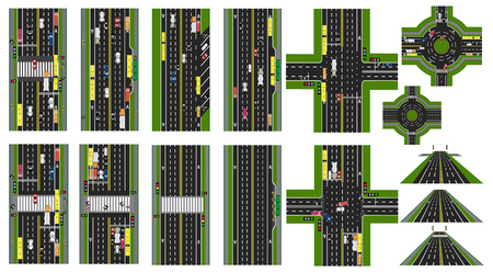 Road Infographic. Set of Sites of roads, highways, streets. Cars public transport. Top view of the highway. Circular motion, intersections. illustration