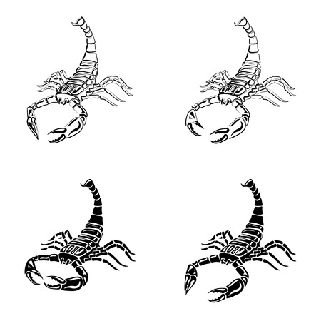 Set of black and white Scorpions for tattoos, zodiac sign, illustration Stock Photo