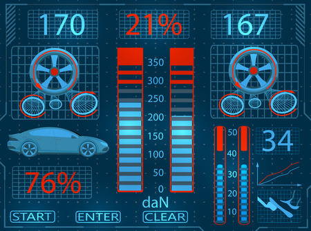 Car service. Scanning. Graphical interface close-up. Checking the brake system. illustration
