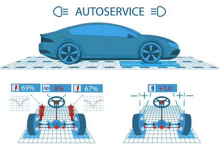 Car service. Scanning. Graphical interface. Diagnostic alignment of the wheels. Check of shock-absorbers, the steering mechanism. Side view and perspective. illustration
