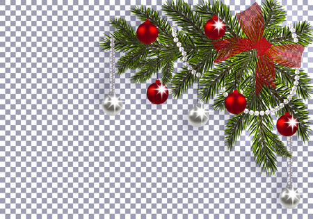 New Year. Christmas. A green branch of a Christmas tree with toys with a shadow. Corner drawing. red bow, silver and red balls on a transparent background. Vector illustration Illustration