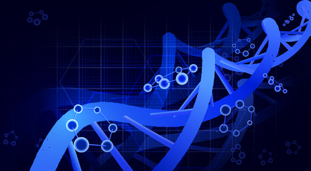 DNA spiral, three pieces. 3d. Science education genetics Vector illustration