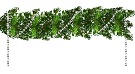Christmas. New Year s decorations in the form of lambrequins with cones and beads. Green tree branches on a white background. Vector illustration