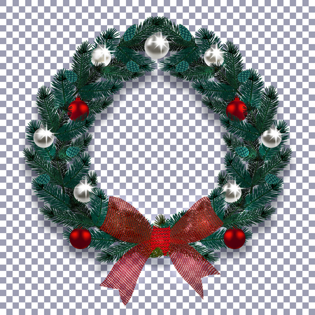 Christmas, New Year. Blue branch of spruce in the form of a Christmas wreath with shadow. Red bow, silver and red balls on the background checkered. Vector illustration