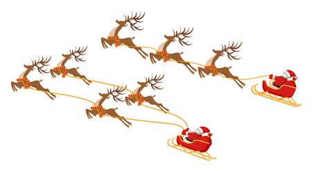 Neujahr. Weihnachten. Satz. Weihnachtsmann auf einem Schlitten mit vier und drei Hirschen. In Farbe. Vektor-Illustration