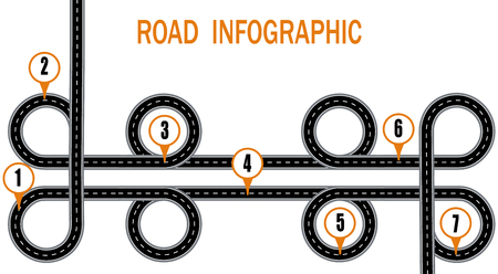 Infographics. A winding road and a circular motion with signs. The path specified by the navigator. Vector illustration
