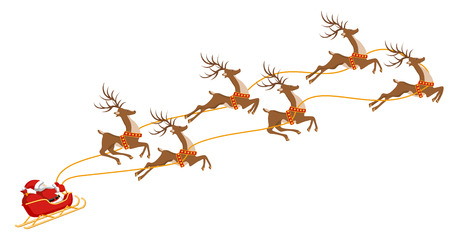 New Year. Christmas. Santa Claus on a sleigh harnessed by six deer. In color. Vector illustration